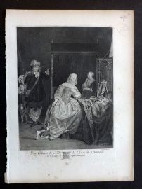After Gabriel Metsu C1820 Antique Print. Hunter with lady at dressing table